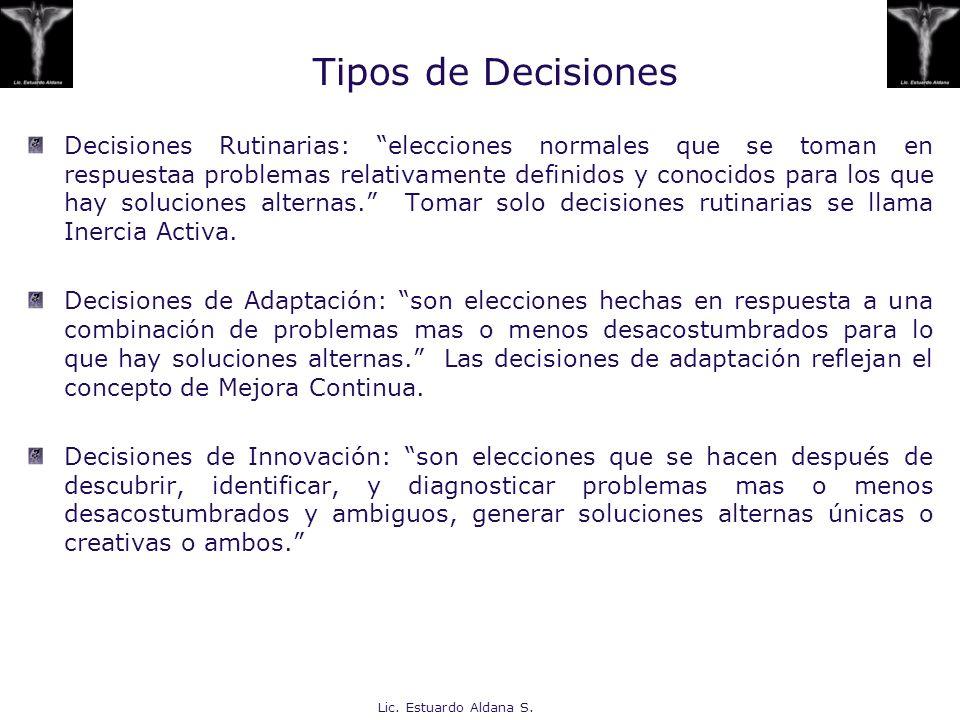 Lic. Estuardo Aldana S. Tipos de Decisiones Decisiones Rutinarias: elecciones normales que se toman en respuestaa problemas relativamente definidos y