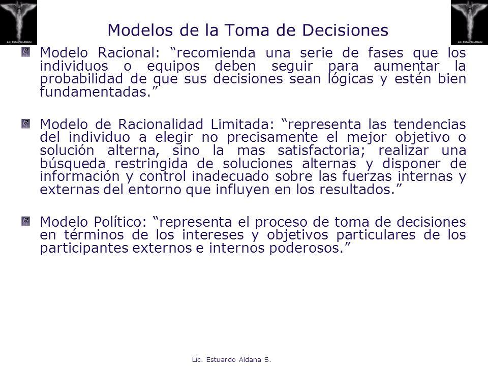 Lic. Estuardo Aldana S. Modelos de la Toma de Decisiones Modelo Racional: recomienda una serie de fases que los individuos o equipos deben seguir para