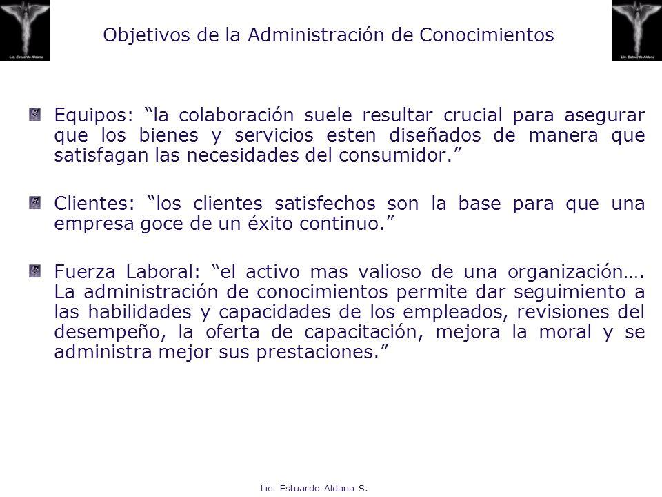 Lic. Estuardo Aldana S. Objetivos de la Administración de Conocimientos Equipos: la colaboración suele resultar crucial para asegurar que los bienes y