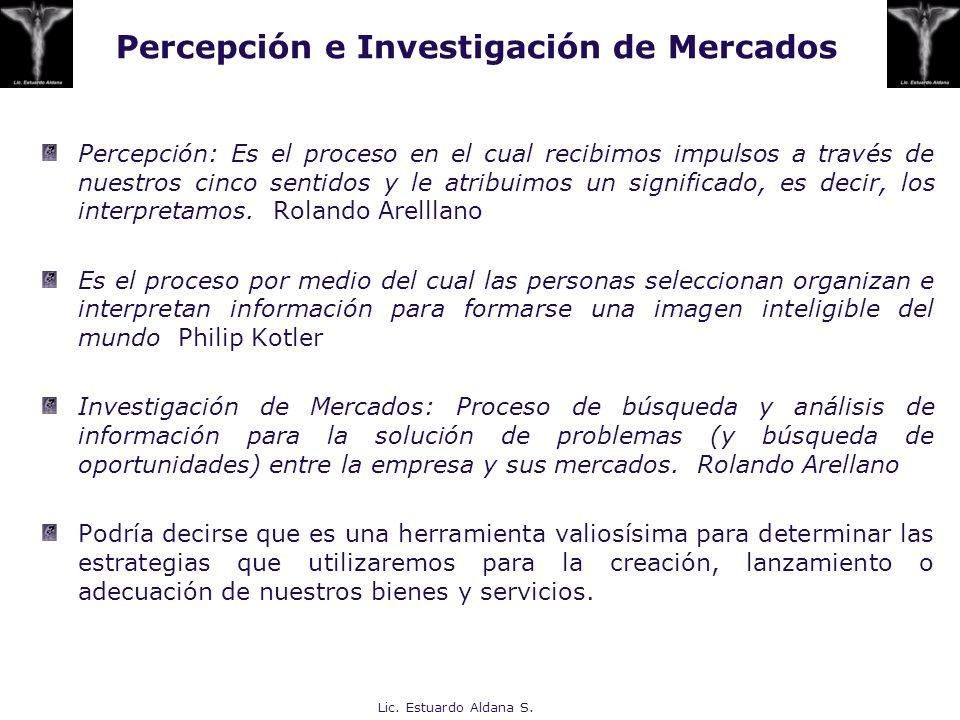 Lic. Estuardo Aldana S. Percepción e Investigación de Mercados Percepción: Es el proceso en el cual recibimos impulsos a través de nuestros cinco sent