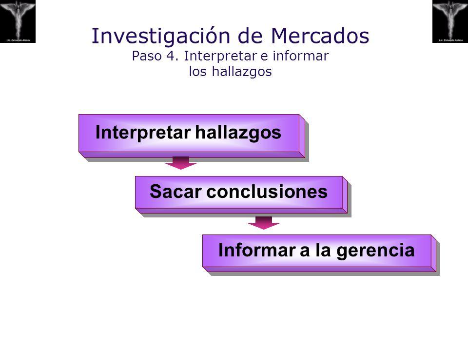 Investigación de Mercados Paso 4. Interpretar e informar los hallazgos Interpret ar hallazgos Sacar c onclusion e s Informar a la gerencia