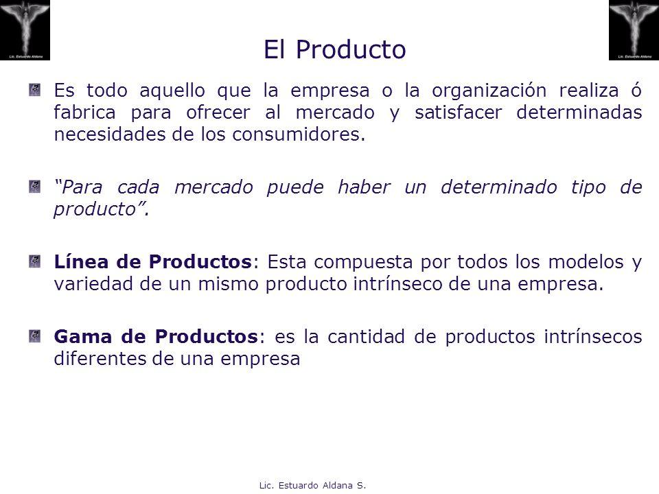 Lic. Estuardo Aldana S. El Producto Es todo aquello que la empresa o la organización realiza ó fabrica para ofrecer al mercado y satisfacer determinad
