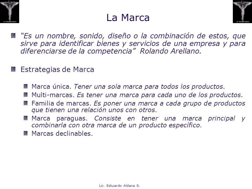 Lic. Estuardo Aldana S. La Marca Es un nombre, sonido, diseño o la combinación de estos, que sirve para identificar bienes y servicios de una empresa