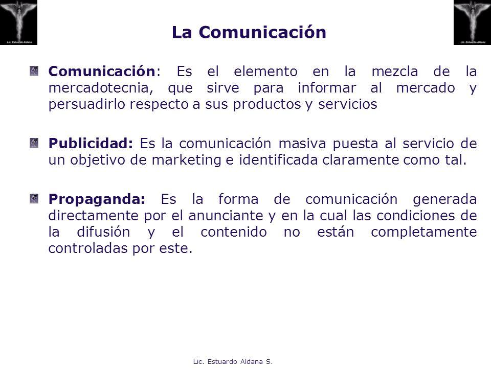 Lic. Estuardo Aldana S. La Comunicación Comunicación: Es el elemento en la mezcla de la mercadotecnia, que sirve para informar al mercado y persuadirl
