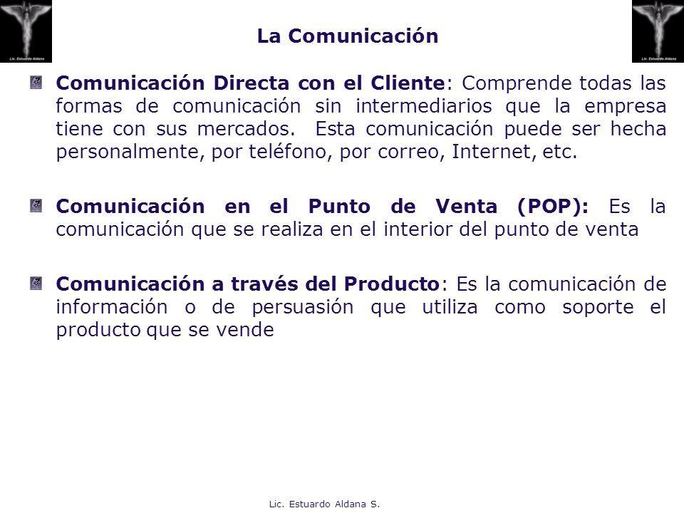 Lic. Estuardo Aldana S. La Comunicación Comunicación Directa con el Cliente: Comprende todas las formas de comunicación sin intermediarios que la empr