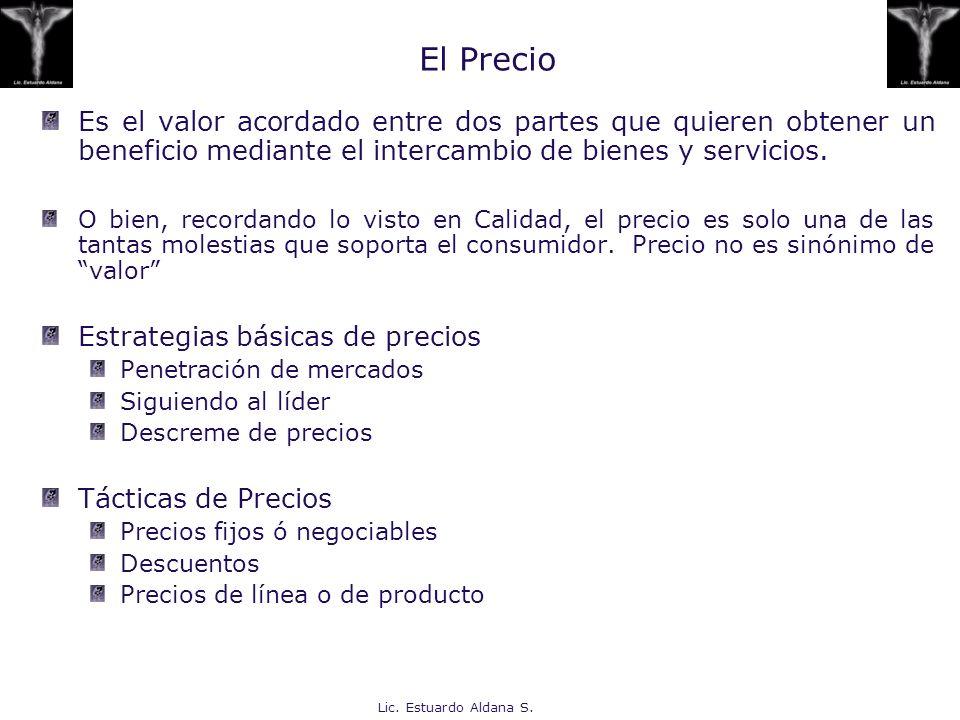 Lic. Estuardo Aldana S. El Precio Es el valor acordado entre dos partes que quieren obtener un beneficio mediante el intercambio de bienes y servicios