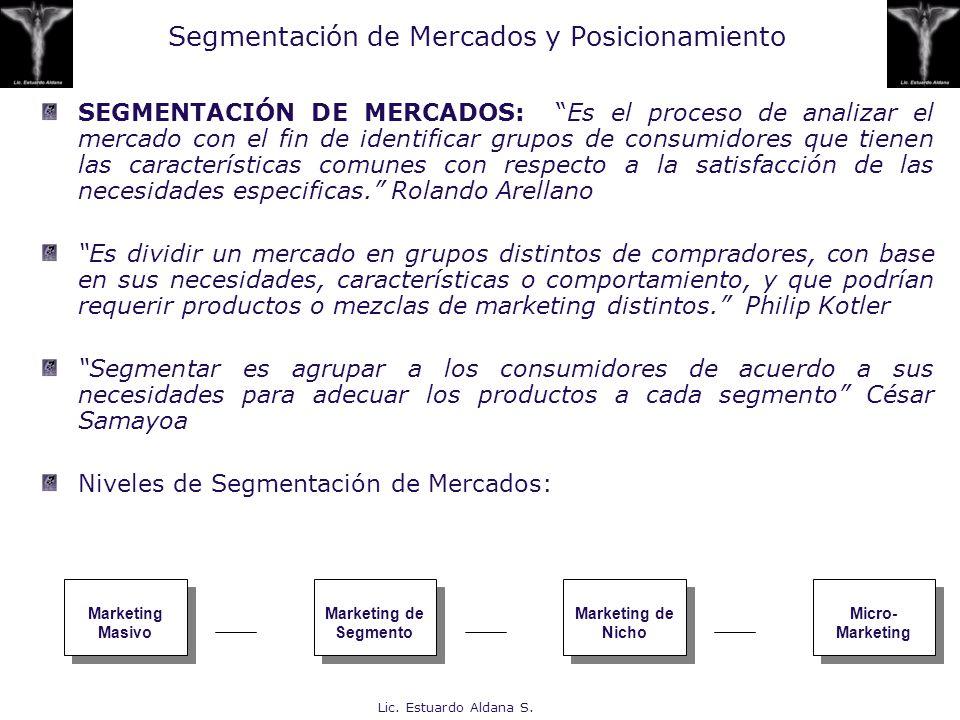 Lic. Estuardo Aldana S. Segmentación de Mercados y Posicionamiento SEGMENTACIÓN DE MERCADOS: Es el proceso de analizar el mercado con el fin de identi