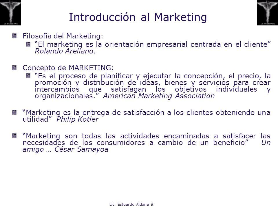 Lic. Estuardo Aldana S. Introducción al Marketing Filosofía del Marketing: El marketing es la orientación empresarial centrada en el cliente Rolando A
