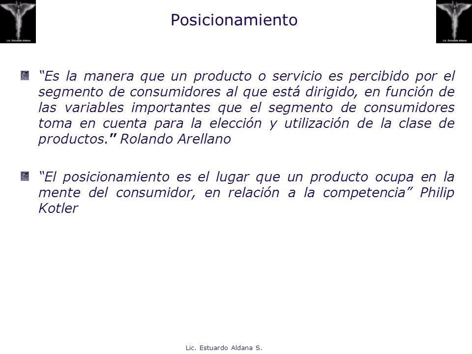 Lic. Estuardo Aldana S. Posicionamiento Es la manera que un producto o servicio es percibido por el segmento de consumidores al que está dirigido, en