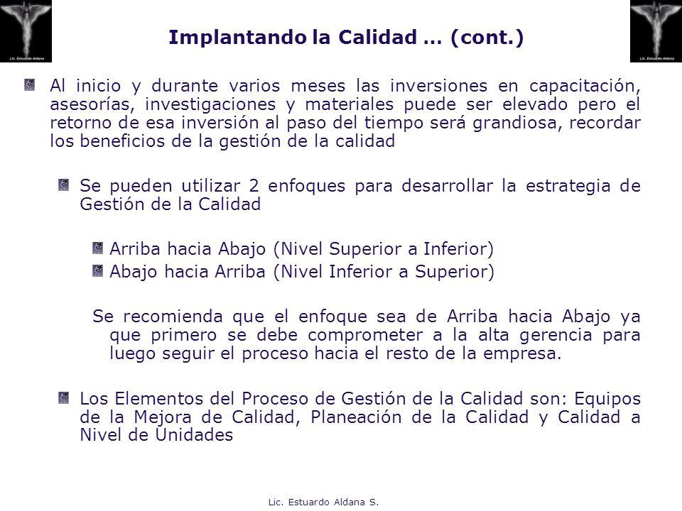 Lic. Estuardo Aldana S. Al inicio y durante varios meses las inversiones en capacitación, asesorías, investigaciones y materiales puede ser elevado pe