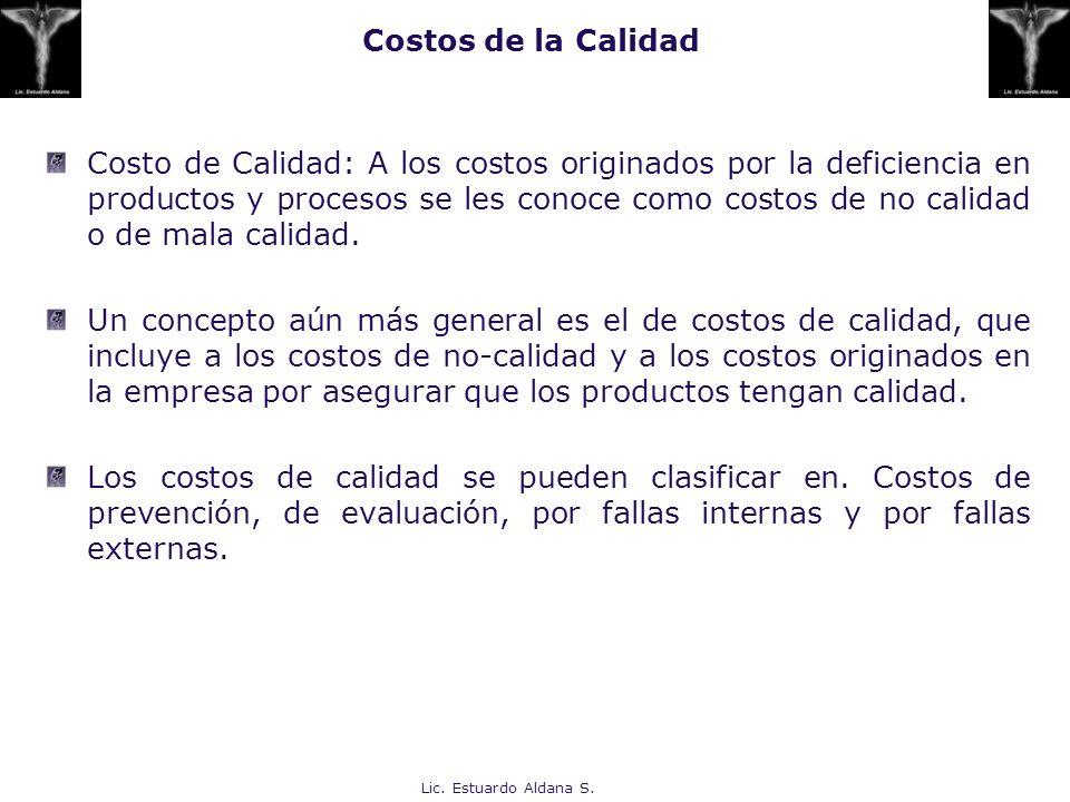 Lic. Estuardo Aldana S. Costos de la Calidad Costo de Calidad: A los costos originados por la deficiencia en productos y procesos se les conoce como c
