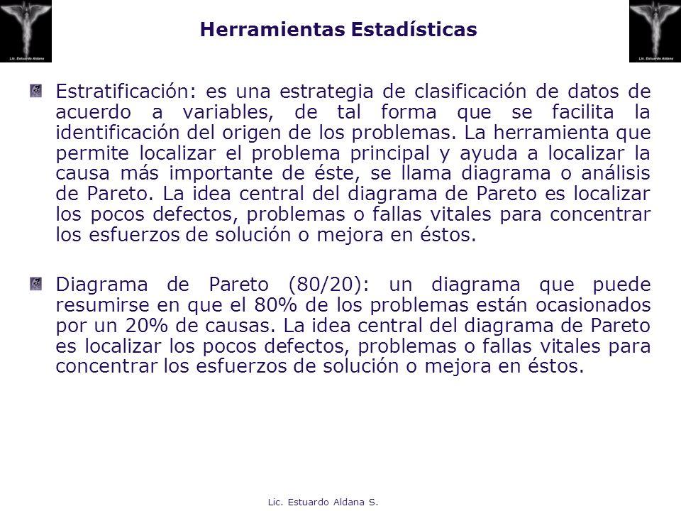 Lic. Estuardo Aldana S. Herramientas Estadísticas Estratificación: es una estrategia de clasificación de datos de acuerdo a variables, de tal forma qu