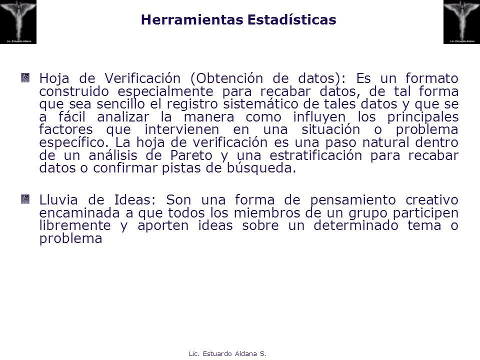 Lic. Estuardo Aldana S. Herramientas Estadísticas Hoja de Verificación (Obtención de datos): Es un formato construido especialmente para recabar datos