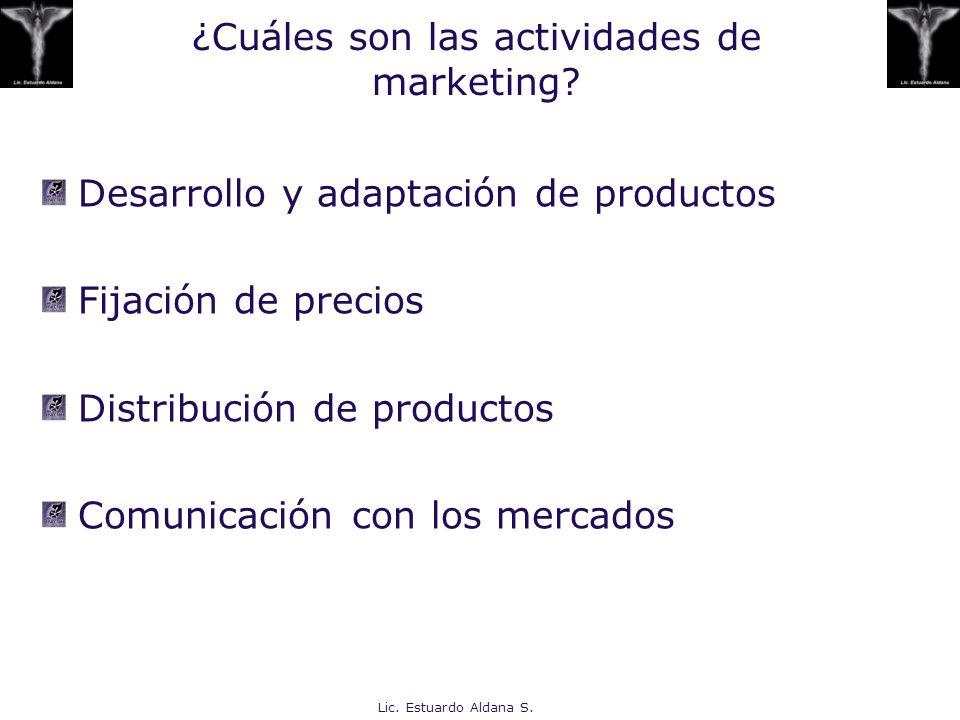 Lic. Estuardo Aldana S. ¿Cuáles son las actividades de marketing? Desarrollo y adaptación de productos Fijación de precios Distribución de productos C