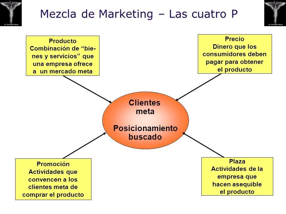 Mezcla de Marketing – Las cuatro P Clientes meta Posicionamiento buscado Producto Combinación de bie- nes y servicios que una empresa ofrece a un merc