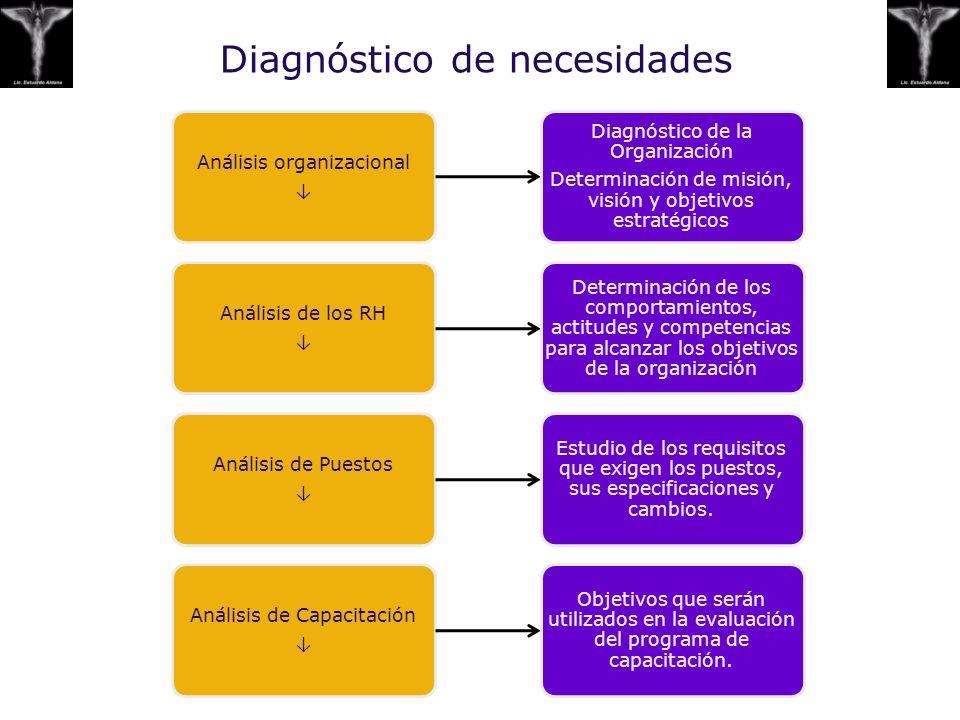 Diagnóstico de necesidades Análisis organizacional Diagnóstico de la Organización Determinación de misión, visión y objetivos estratégicos Análisis de