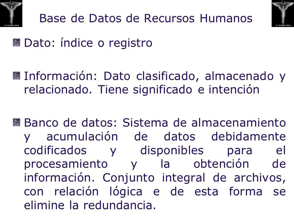 Base de Datos de Recursos Humanos Dato: índice o registro Información: Dato clasificado, almacenado y relacionado. Tiene significado e intención Banco