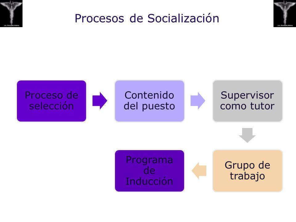 Procesos de Socialización Proceso de selección Contenido del puesto Supervisor como tutor Grupo de trabajo Programa de Inducción