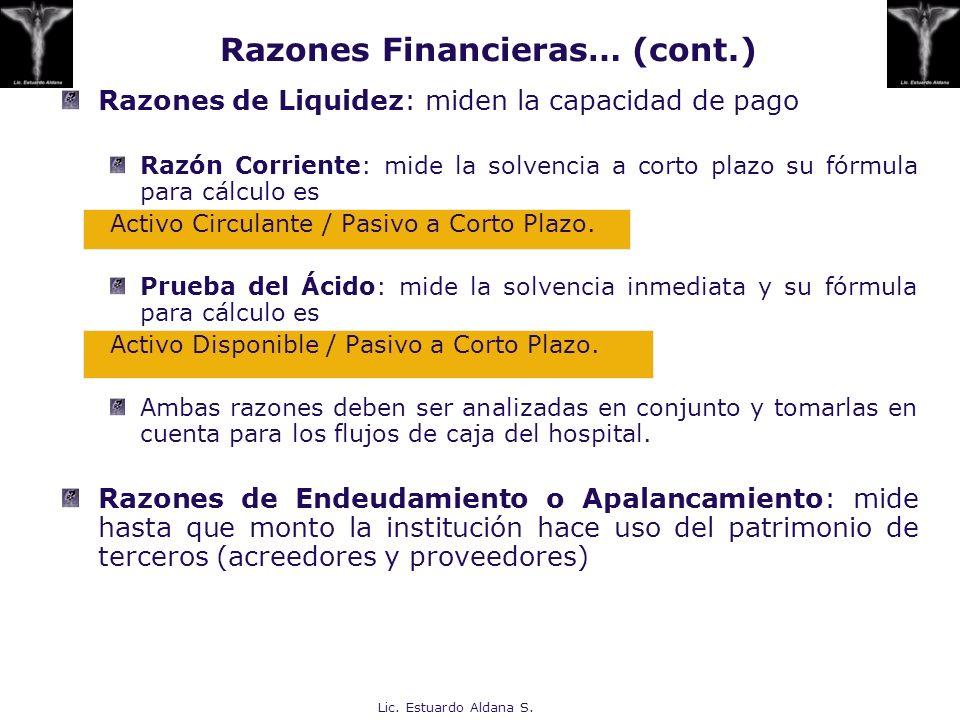 Lic. Estuardo Aldana S. Razones de Liquidez: miden la capacidad de pago Razón Corriente: mide la solvencia a corto plazo su fórmula para cálculo es Ac