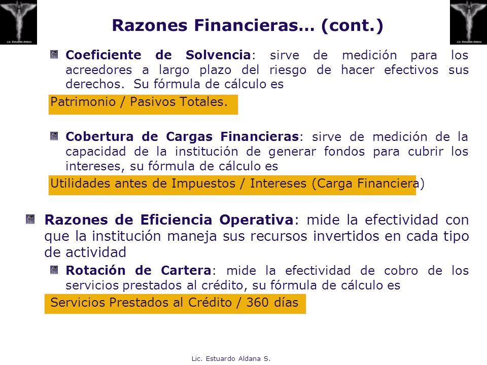 Lic. Estuardo Aldana S. Coeficiente de Solvencia: sirve de medición para los acreedores a largo plazo del riesgo de hacer efectivos sus derechos. Su f