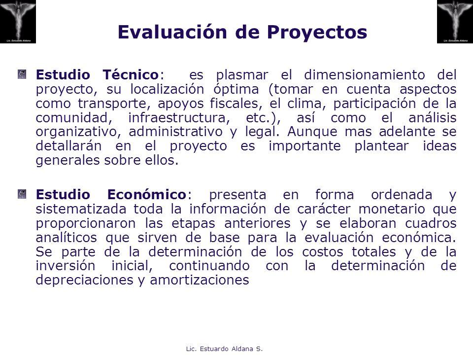 Lic. Estuardo Aldana S. Estudio Técnico: es plasmar el dimensionamiento del proyecto, su localización óptima (tomar en cuenta aspectos como transporte