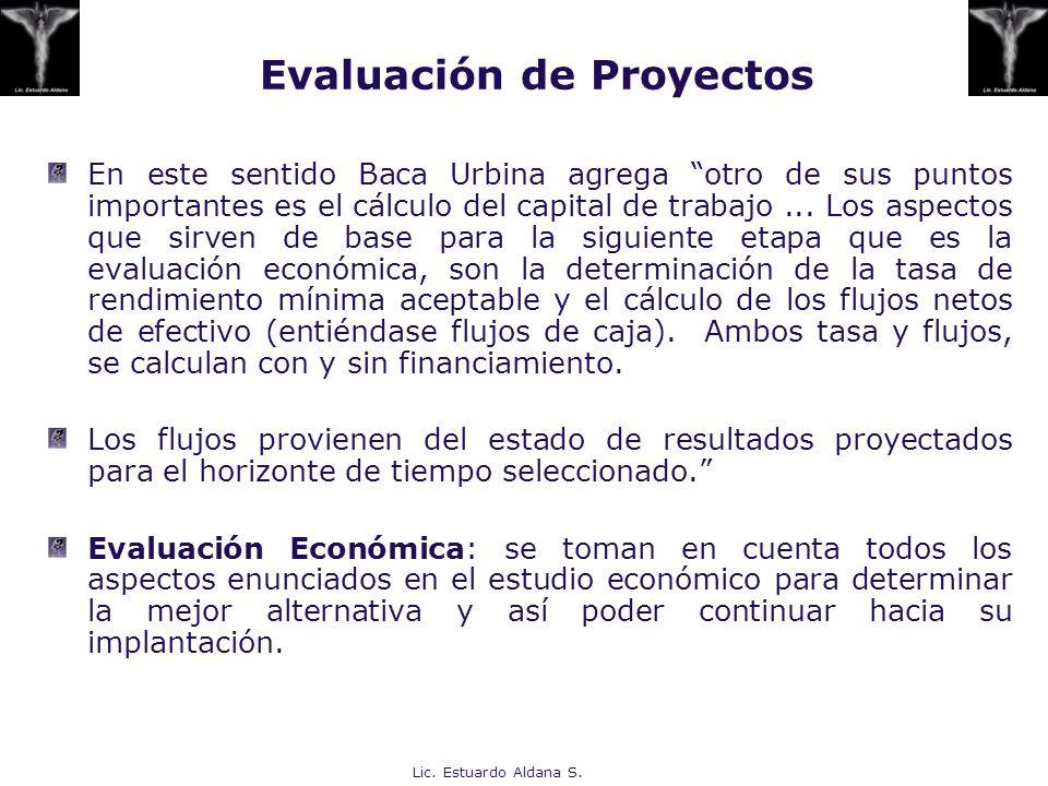 Lic. Estuardo Aldana S. En este sentido Baca Urbina agrega otro de sus puntos importantes es el cálculo del capital de trabajo... Los aspectos que sir