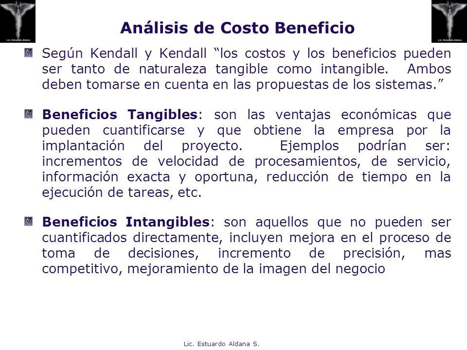 Lic. Estuardo Aldana S. Análisis de Costo Beneficio Según Kendall y Kendall los costos y los beneficios pueden ser tanto de naturaleza tangible como i