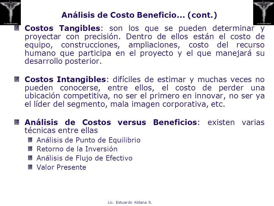 Lic. Estuardo Aldana S. Costos Tangibles: son los que se pueden determinar y proyectar con precisión. Dentro de ellos están el costo de equipo, constr
