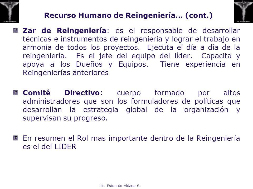 Lic. Estuardo Aldana S. Zar de Reingeniería: es el responsable de desarrollar técnicas e instrumentos de reingeniería y lograr el trabajo en armonía d