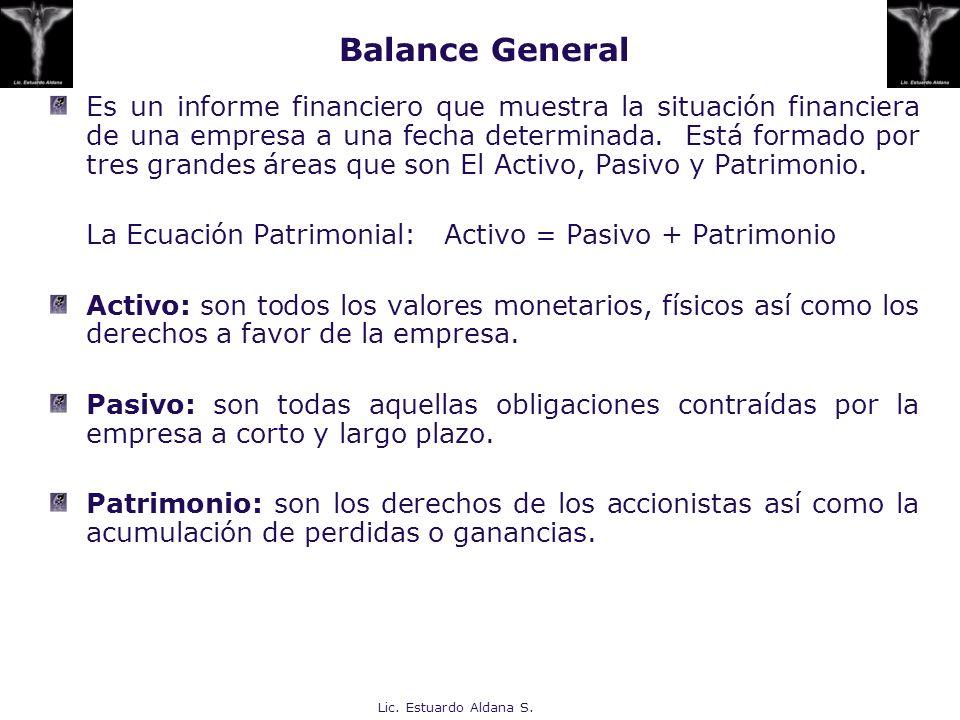 Lic. Estuardo Aldana S. Es un informe financiero que muestra la situación financiera de una empresa a una fecha determinada. Está formado por tres gra