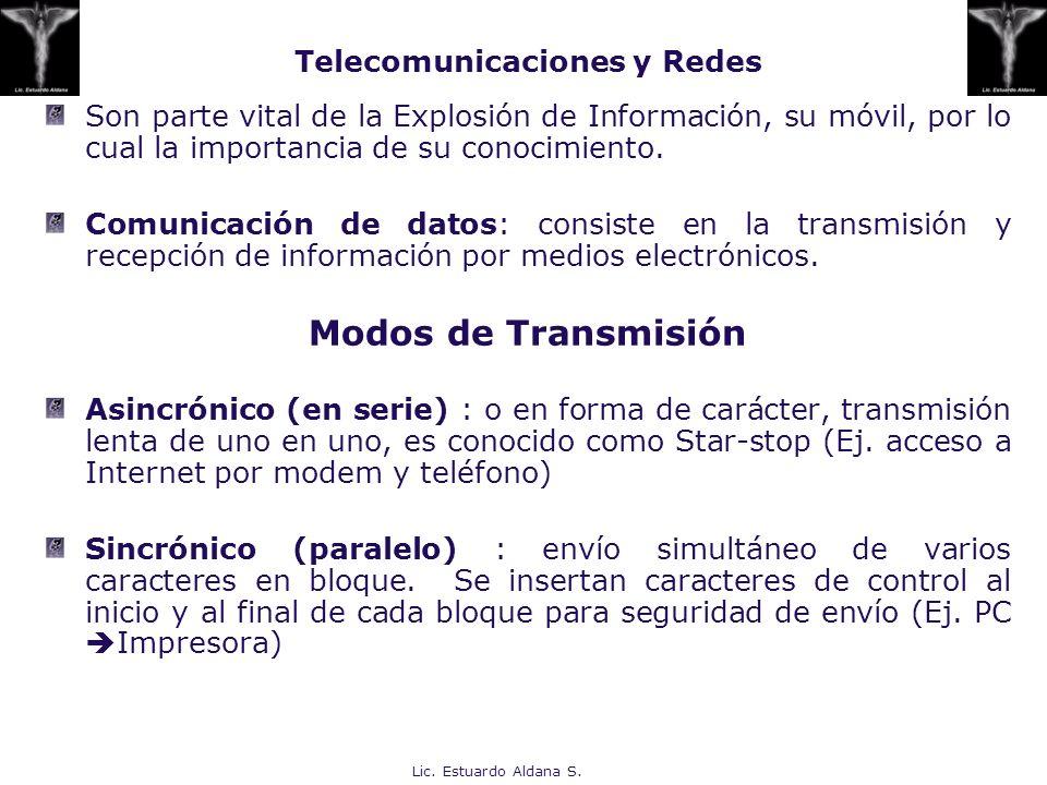 Lic. Estuardo Aldana S. Telecomunicaciones y Redes Son parte vital de la Explosión de Información, su móvil, por lo cual la importancia de su conocimi