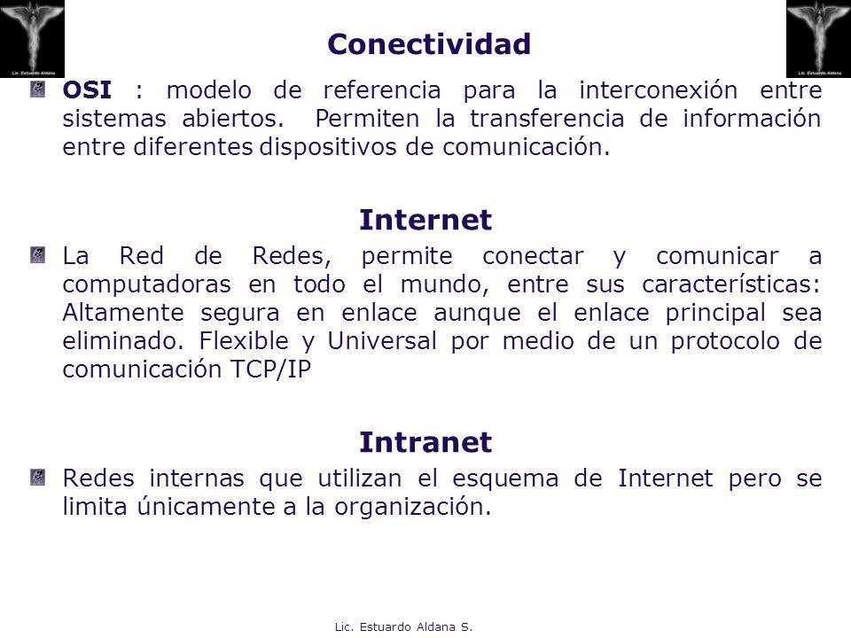 Lic. Estuardo Aldana S. Conectividad OSI : modelo de referencia para la interconexión entre sistemas abiertos. Permiten la transferencia de informació