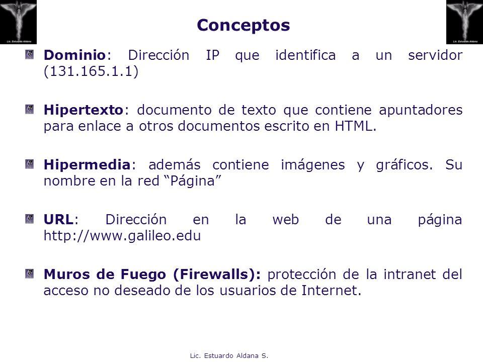 Lic. Estuardo Aldana S. Dominio: Dirección IP que identifica a un servidor (131.165.1.1) Hipertexto: documento de texto que contiene apuntadores para