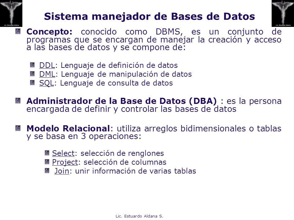 Lic. Estuardo Aldana S. Sistema manejador de Bases de Datos Concepto: conocido como DBMS, es un conjunto de programas que se encargan de manejar la cr