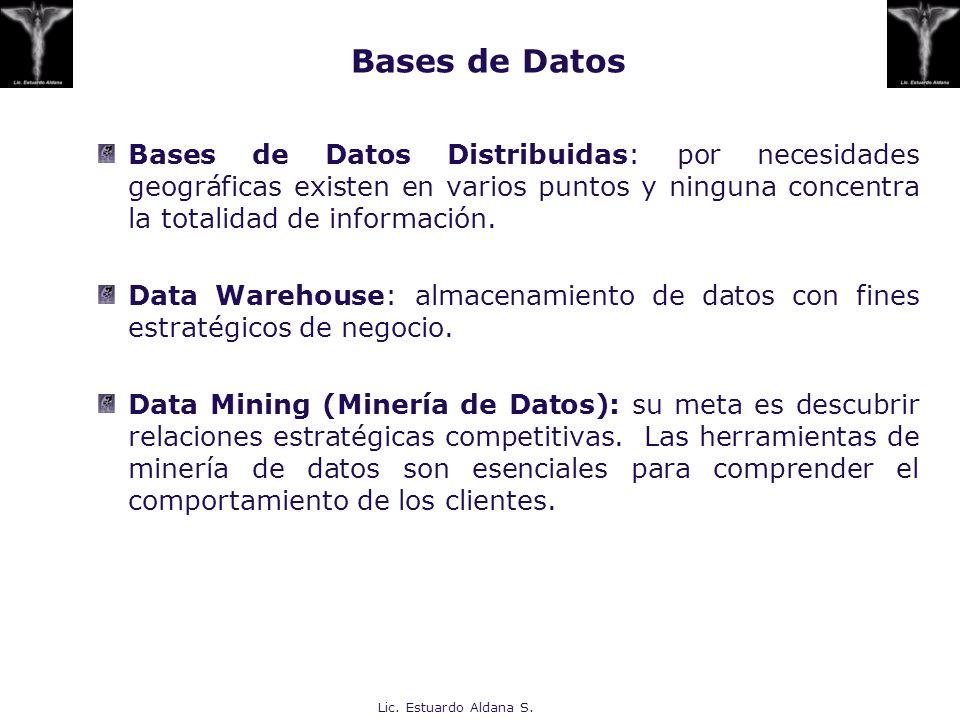 Lic. Estuardo Aldana S. Bases de Datos Distribuidas: por necesidades geográficas existen en varios puntos y ninguna concentra la totalidad de informac