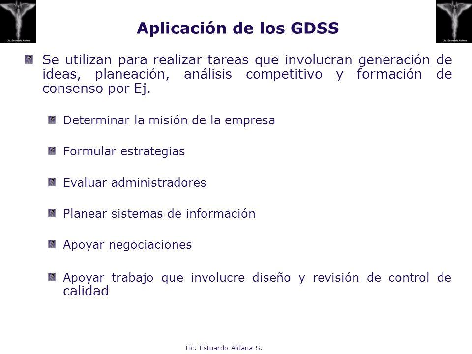 Lic. Estuardo Aldana S. Aplicación de los GDSS Se utilizan para realizar tareas que involucran generación de ideas, planeación, análisis competitivo y