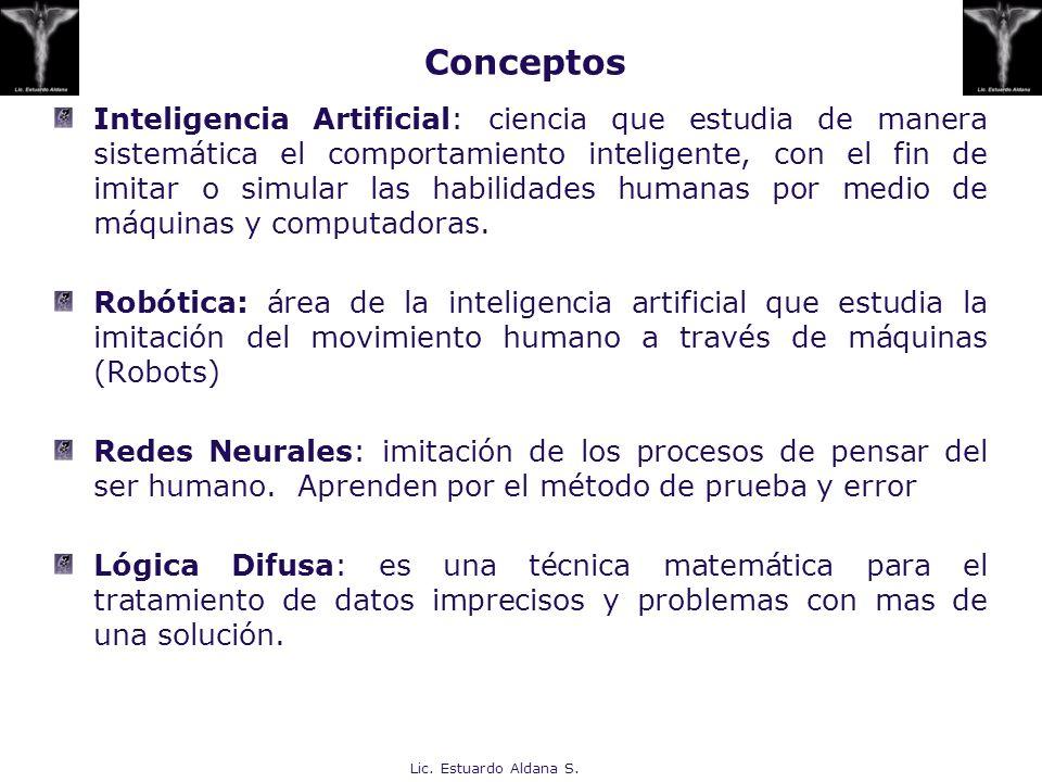 Lic. Estuardo Aldana S. Inteligencia Artificial: ciencia que estudia de manera sistemática el comportamiento inteligente, con el fin de imitar o simul