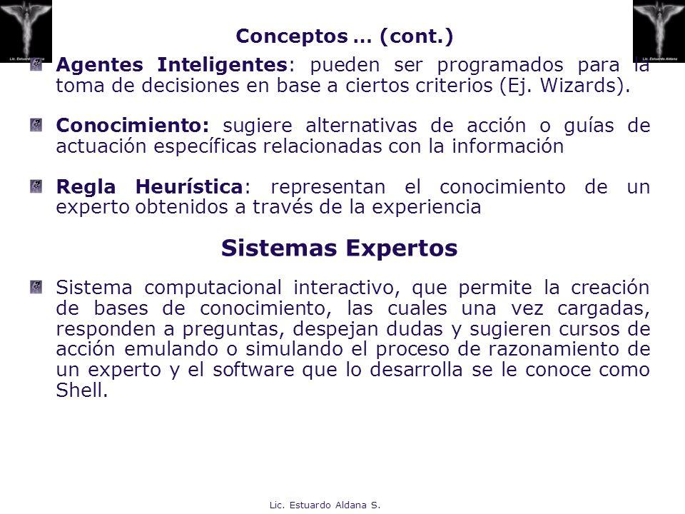 Lic. Estuardo Aldana S. Agentes Inteligentes: pueden ser programados para la toma de decisiones en base a ciertos criterios (Ej. Wizards). Conocimient