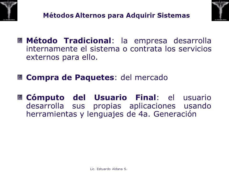 Lic. Estuardo Aldana S. Métodos Alternos para Adquirir Sistemas Método Tradicional: la empresa desarrolla internamente el sistema o contrata los servi