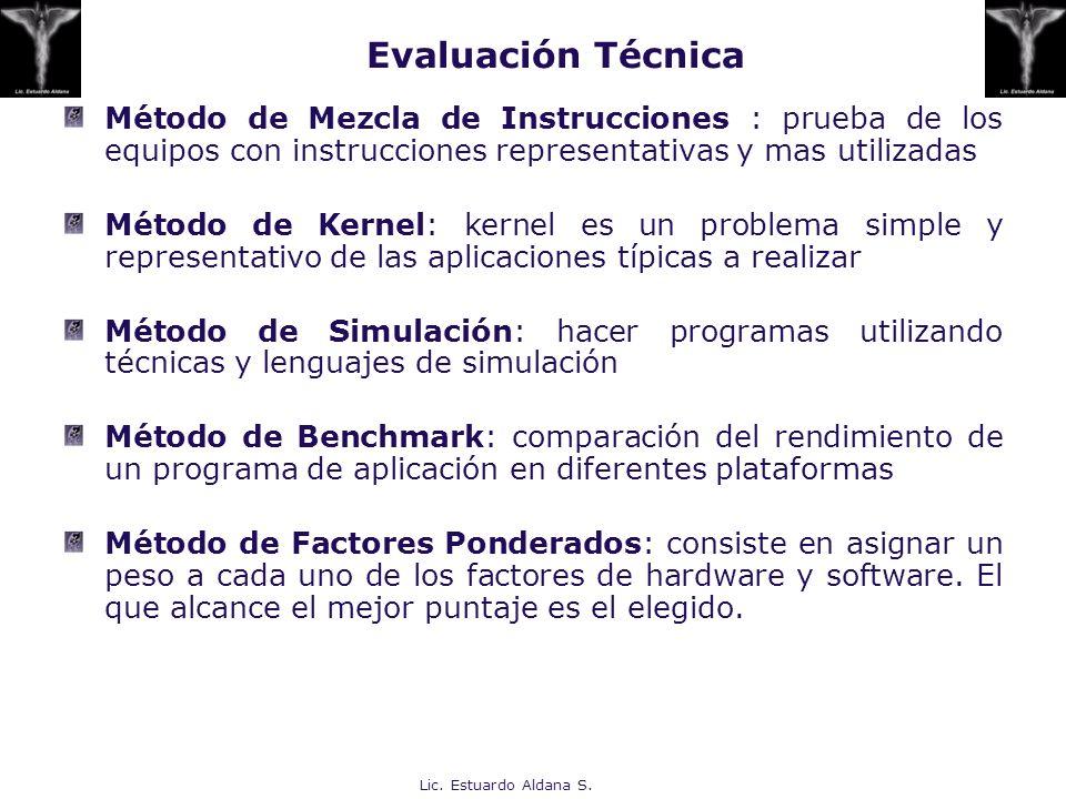 Lic. Estuardo Aldana S. Evaluación Técnica Método de Mezcla de Instrucciones : prueba de los equipos con instrucciones representativas y mas utilizada