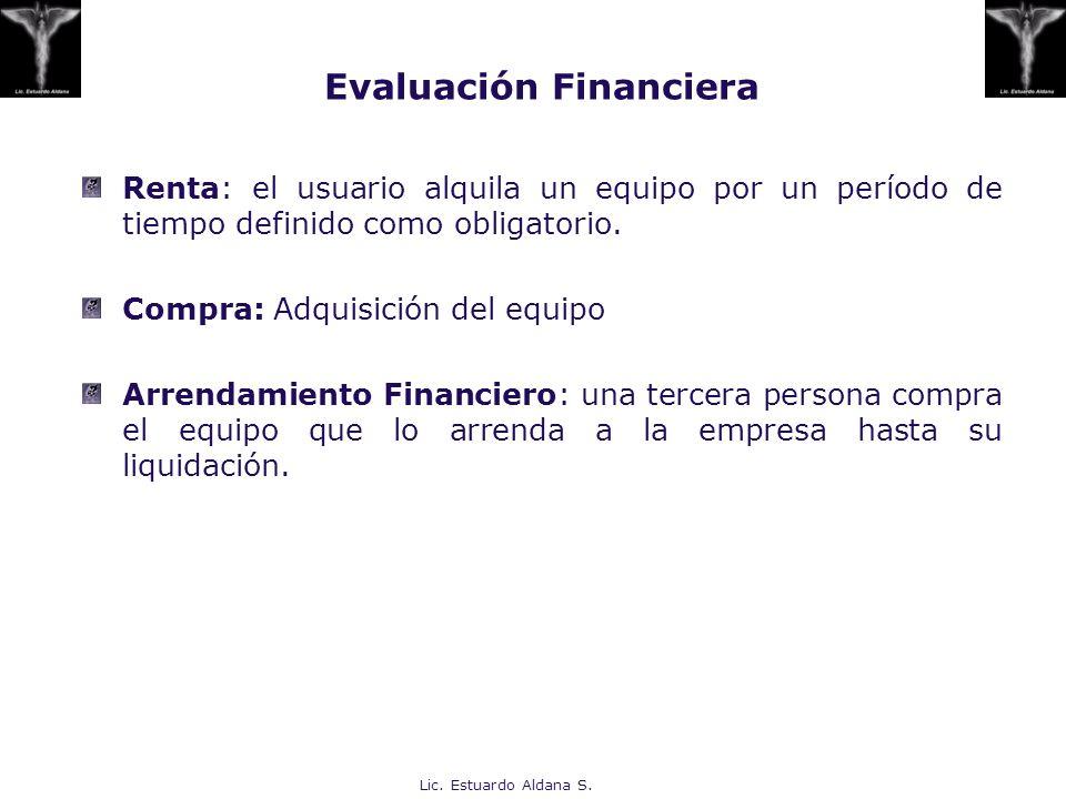 Lic. Estuardo Aldana S. Evaluación Financiera Renta: el usuario alquila un equipo por un período de tiempo definido como obligatorio. Compra: Adquisic