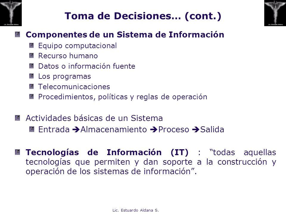 Lic. Estuardo Aldana S. Componentes de un Sistema de Información Equipo computacional Recurso humano Datos o información fuente Los programas Telecomu