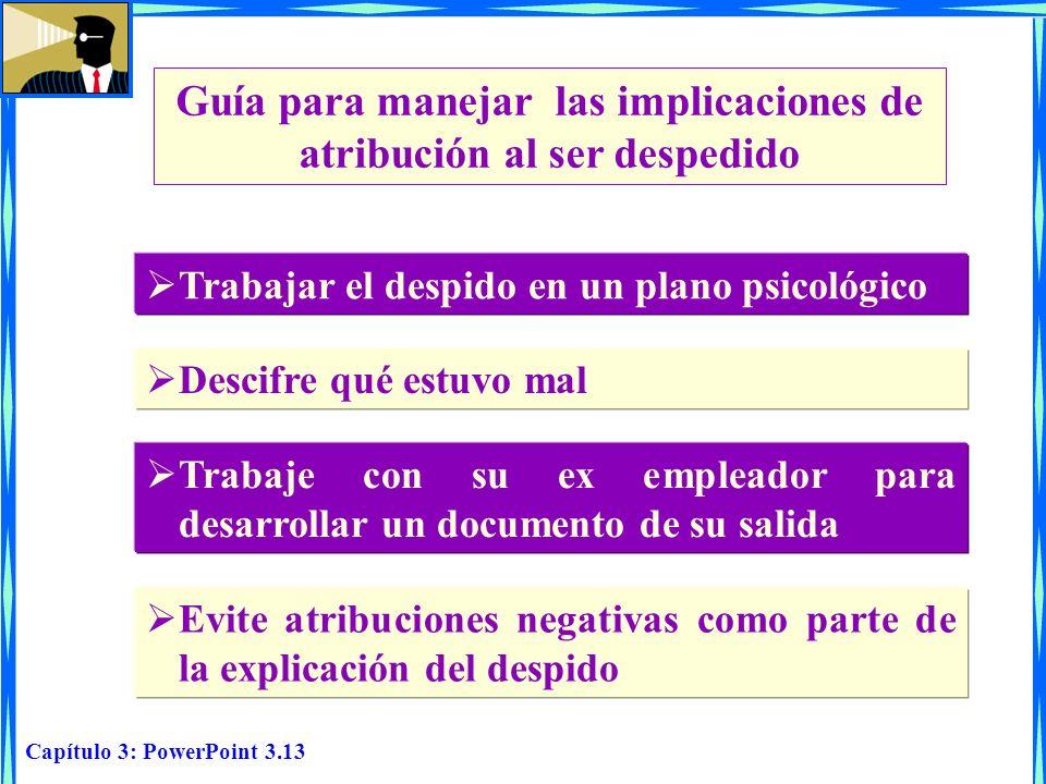 Capítulo 3: PowerPoint 3.13 Guía para manejar las implicaciones de atribución al ser despedido Trabajar el despido en un plano psicológico Descifre qu