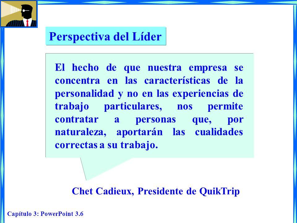 Capítulo 3: PowerPoint 3.6 Perspectiva del Líder Chet Cadieux, Presidente de QuikTrip El hecho de que nuestra empresa se concentra en las característi