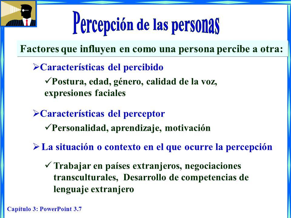 Capítulo 3: PowerPoint 3.7 Factores que influyen en como una persona percibe a otra: Características del percibido Postura, edad, género, calidad de l