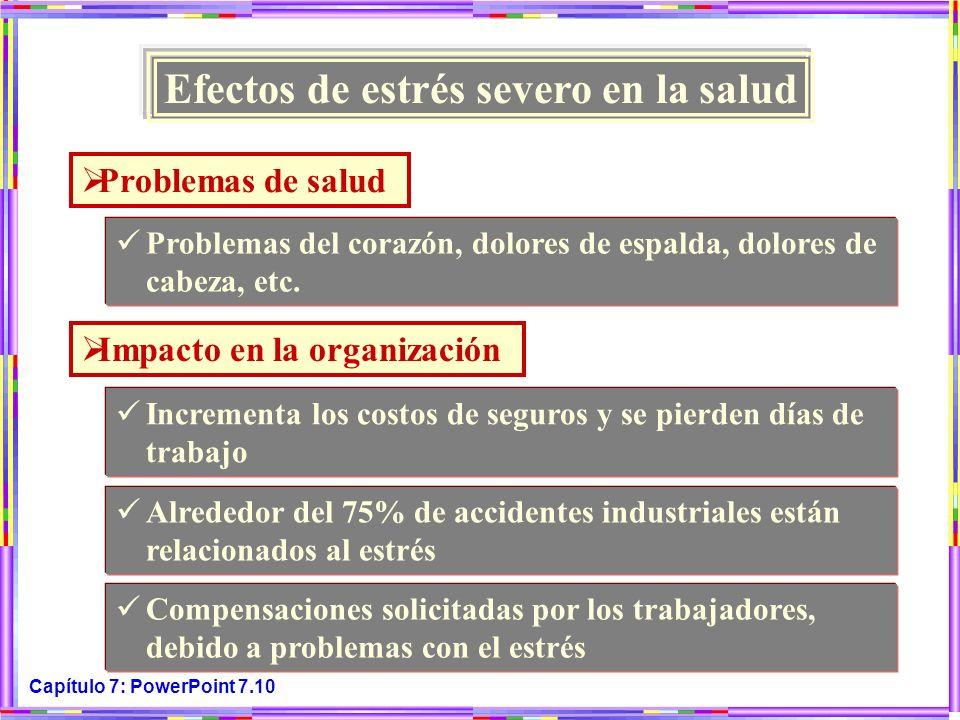 Capítulo 7: PowerPoint 7.10 Efectos de estrés severo en la salud Problemas de salud Problemas del corazón, dolores de espalda, dolores de cabeza, etc.