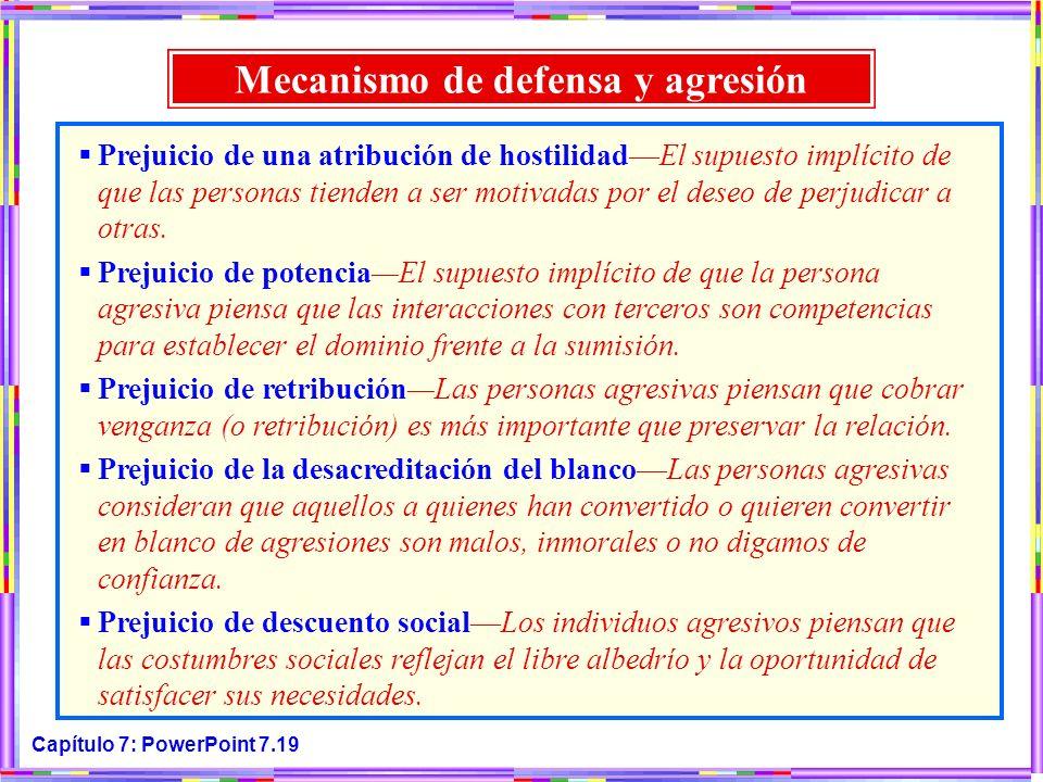 Capítulo 7: PowerPoint 7.19 Mecanismo de defensa y agresión Prejuicio de una atribución de hostilidadEl supuesto implícito de que las personas tienden