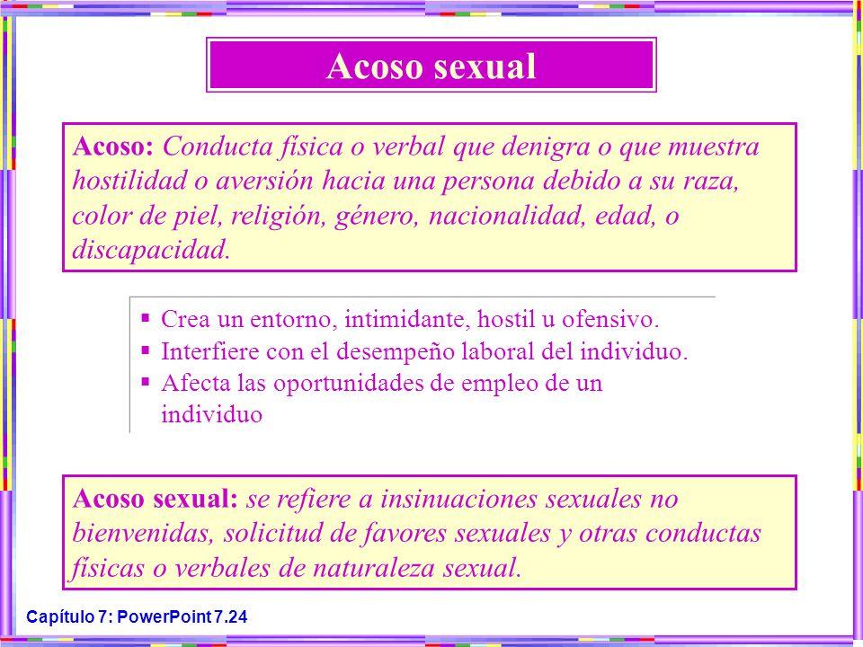 Capítulo 7: PowerPoint 7.24 Acoso sexual Acoso: Conducta física o verbal que denigra o que muestra hostilidad o aversión hacia una persona debido a su