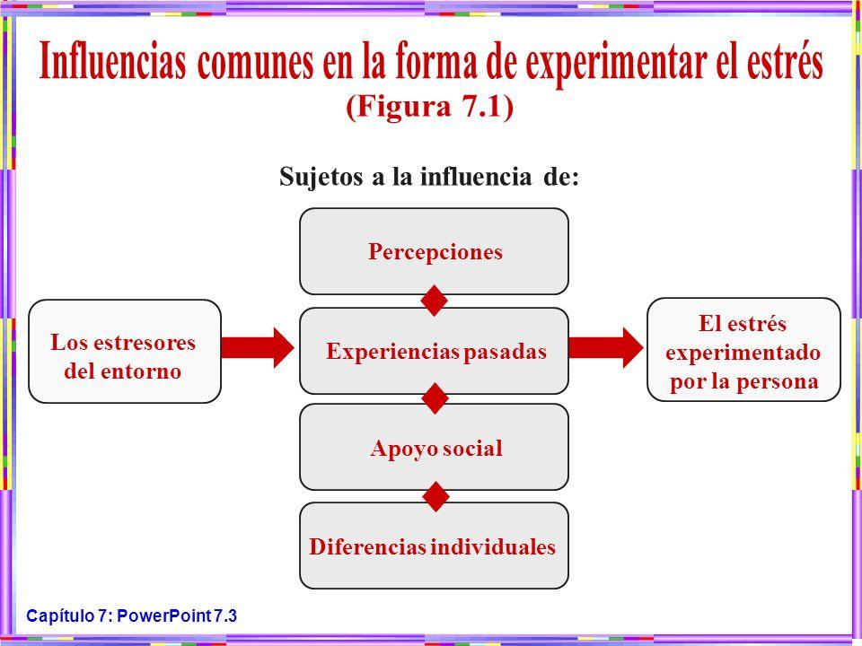 Capítulo 7: PowerPoint 7.3 Los estresores del entorno El estrés experimentado por la persona Sujetos a la influencia de: Percepciones Experiencias pas