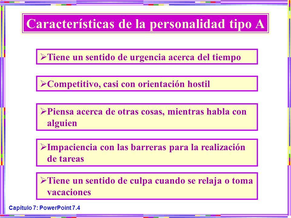 Capítulo 7: PowerPoint 7.4 Características de la personalidad tipo A Tiene un sentido de urgencia acerca del tiempo Competitivo, casi con orientación